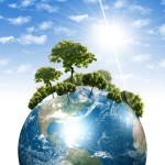 Erde mit Bäumen