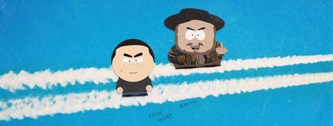 Fatoni und Edgar Wasser als gezeichnete Comicfiguren im Stil der Serie South Park vor blauem Hintergrund