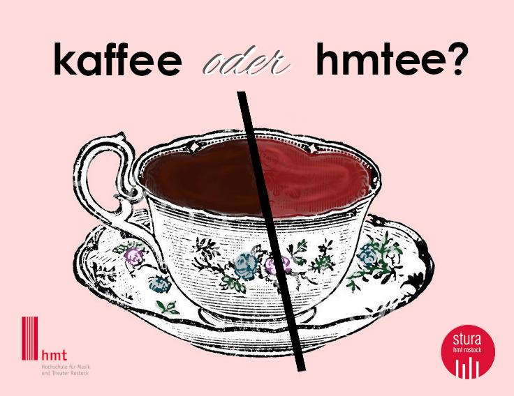 Illustration Kaffeetasse halb gefüllt links mit Kaffee und rechts mit Tee