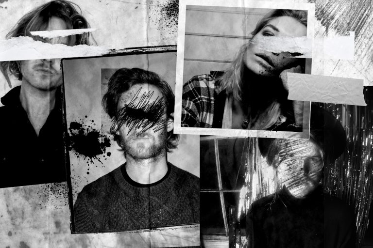 Kollage aus vier Portraitfotos mit unkenntlich gemachten Augen von Musiker*innen der Bands Blood Red Shoes, PROJECTOR, Nancy im Rahmen der AA Sessions