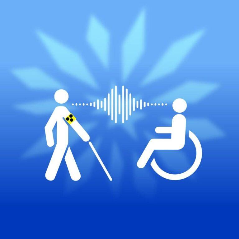 Grafik mit seheingeschränkter Person und Rollstuhlfahrer